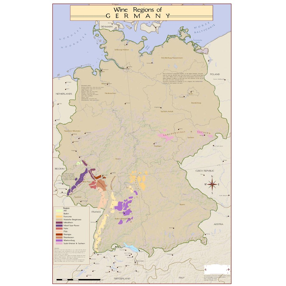 Wine Regions of Germany Map on Canvas