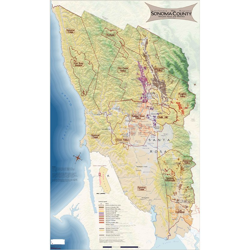 Wine Regions of Sonoma County Map on Canvas