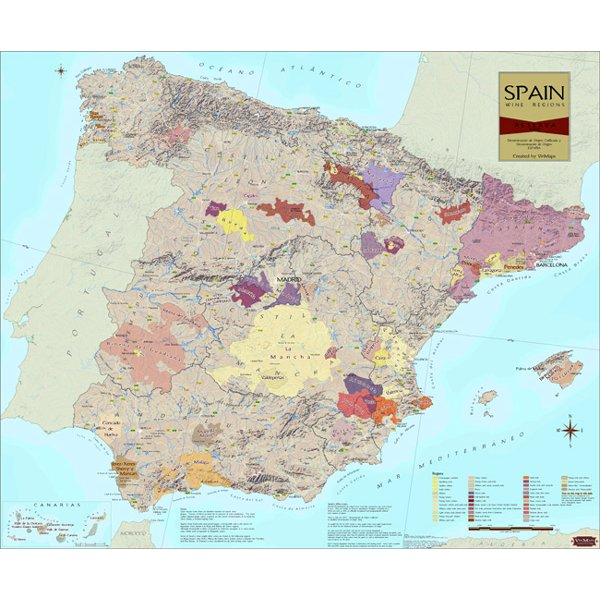 Wine Regions of Spain Wine Map on Canvas