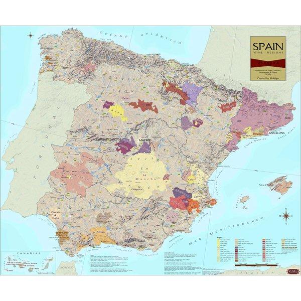 Wine Regions of Spain Wine Map on Canvas