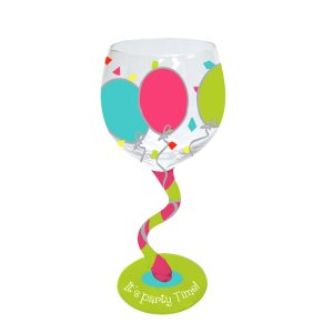 Balloons Handpainted Wavy Stem Wine Glass