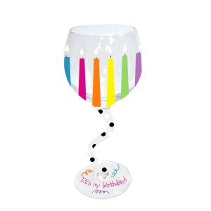 Birthday Candles Handpainted Wavy Stem Wine Glass