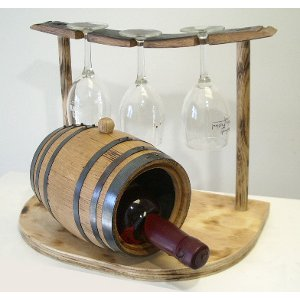 Wine Barrel Wine Holder & Glassware Rack