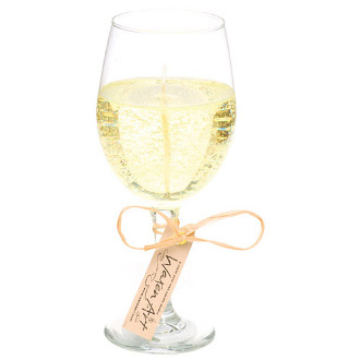 White Wine Glass Gel Candle