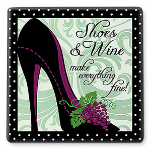Shoes and Wine... Ceramic Trivet