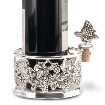 Silver Plated Bottle Coaster w/ Wine Stopper