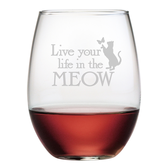 In The Meow Stemless Wine Glasses (set of 4)