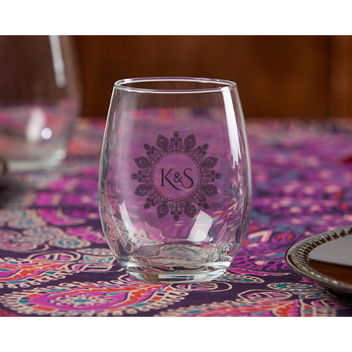 Personalized Henna Monogram Stemless Wine Glass Wedding Favors (set of 36)