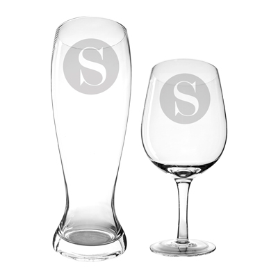 Personalized Single Initial Extra Large Beer and Wine Glasses (set of 2)
