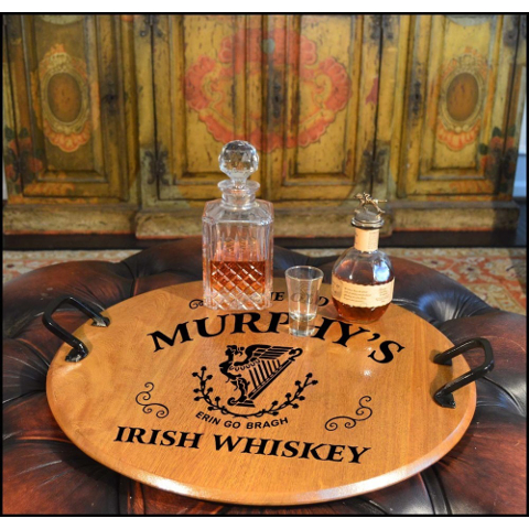 Personalized Irish Harp American Oak Serving Tray