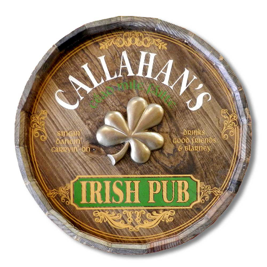 Irish Pub Personalized Quarter Barrel Sign