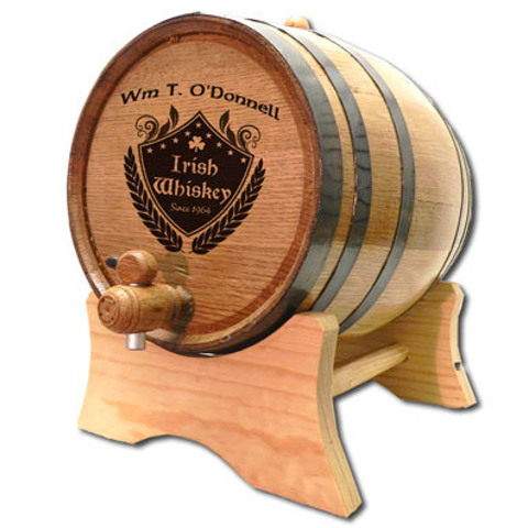 Personalized Irish Crest Make Your Own Spirits White Oak Barrel