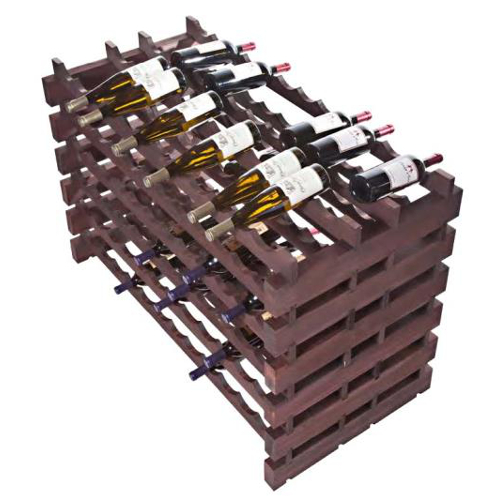 Two Sided 144 Bottle Modular Wine Display Rack - Stained