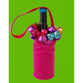 Jingle Bell Wine Bottle Bag, Pink