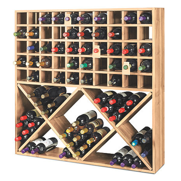 Jumbo Bin Grid 100 Bottle Wine Rack (Natural)