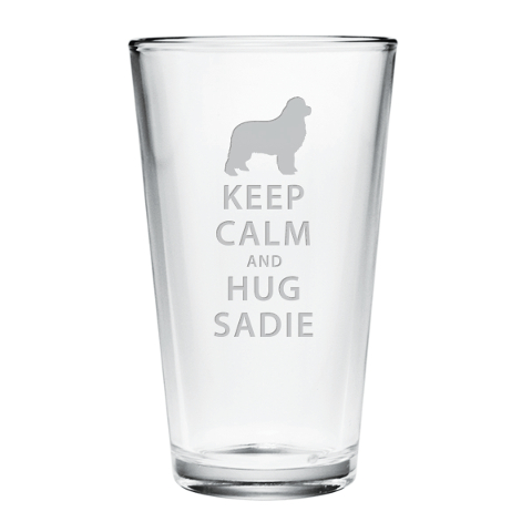 Personalized Keep Calm and Hug Your Pet Pint Glasses (set of 4)