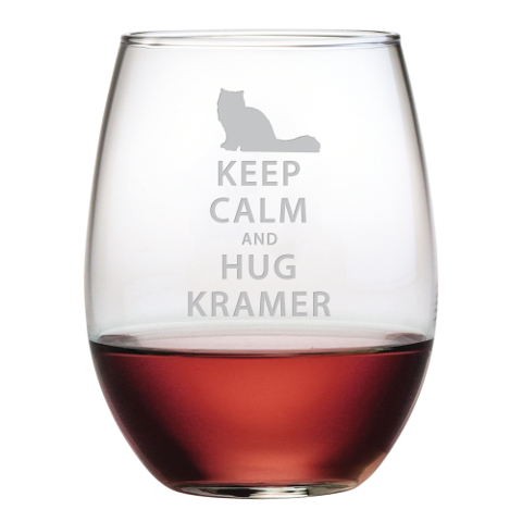 Personalized Keep Calm and Hug Your Pet Wine Glasses (set of 4)
