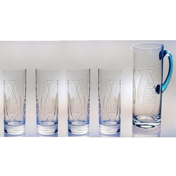 Kipper Etched Cooler Glasses & Pitcher Gift Set