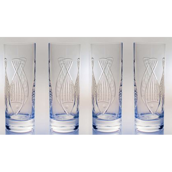 Kipper Etched Cooler Glasses (set of 4)