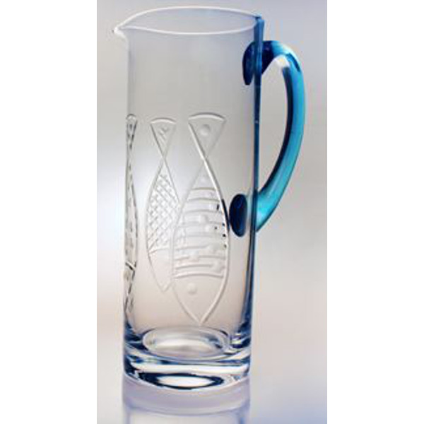 Kipper Etched Glass Pitcher