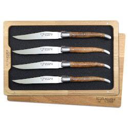 Laguiole en Aubrac Steak Knives Teak Burl Set of 4