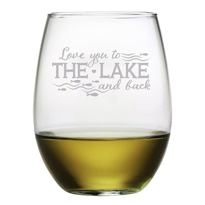 Love You to The Lake and Back Stemless Wine Glasses (set of 4)