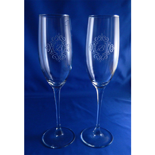 Monogrammed Laurel Connoisseur Champagne Flutes (set of 2)