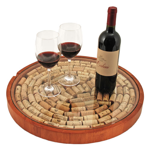 Lazy Susan Cork Display with Glass Top
