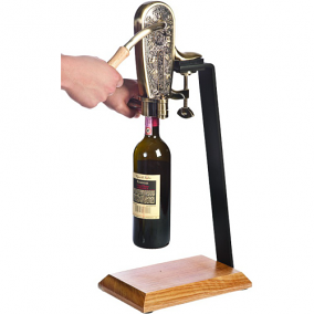 Le Grape Brass Uncorking Machine with Table Stand Set
