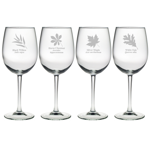 Assorted Leaf Botanicals Stemmed Wine Glasses (set of 4)