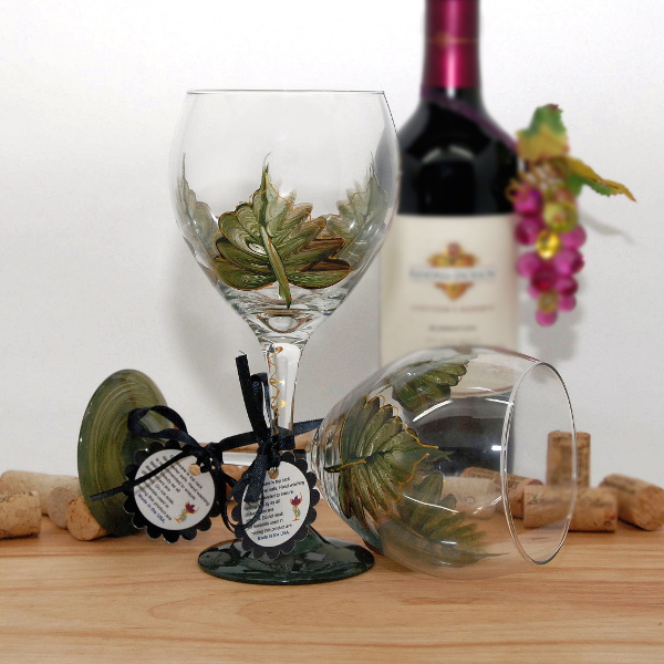 Handpainted Green Leaf Wine Glass