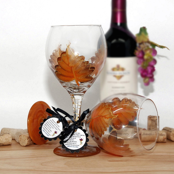 Handpainted Fall Orange Leaf Wine Glass