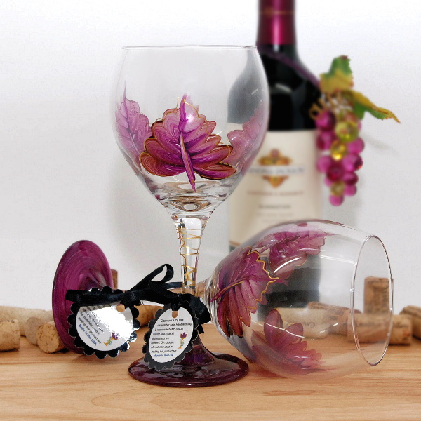 Handpainted Purple Leaf Wine Glass