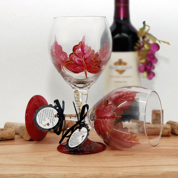 Handpainted Ruby Red Leaf Wine Glass