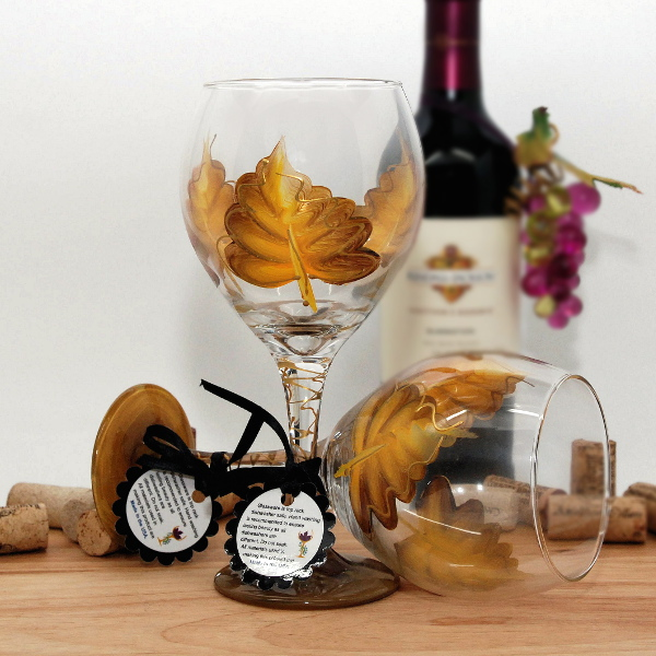 Handpainted Fall Yellow Leaf Wine Glass