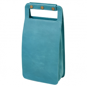 Leather Two Bottle Wine Carrier, Sonoma Teal
