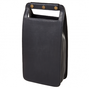 Leather Two Bottle Wine Carrier, Vachetta Black
