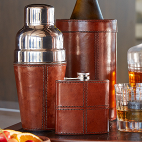 Leather Barware Set with Stainless Steel Tools