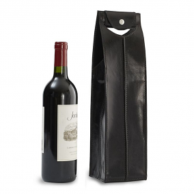 Genuine Leather Wine Bag 1 Bottle, Black