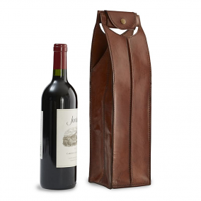 Genuine Leather Wine Bag 1 Bottle, Brown