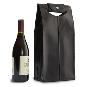 Genuine Leather 2 Bottle Wine Bag, Black