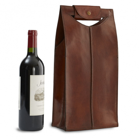 Genuine Leather 2 Bottle Wine Bag, Brown