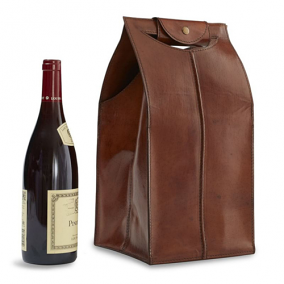 Genuine Leather 4 Bottle Wine Bag, Brown