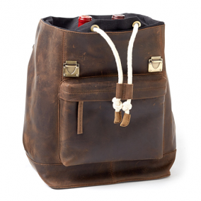 Leather Wine Backpack 2 Bottle, Brown