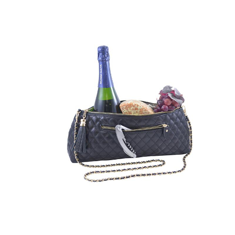 Genuine Leather Single Bottle Wine Purse, Black