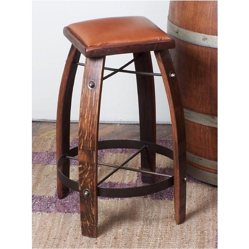 Wine Stave Stool with Leather Top 24 Inch Tan