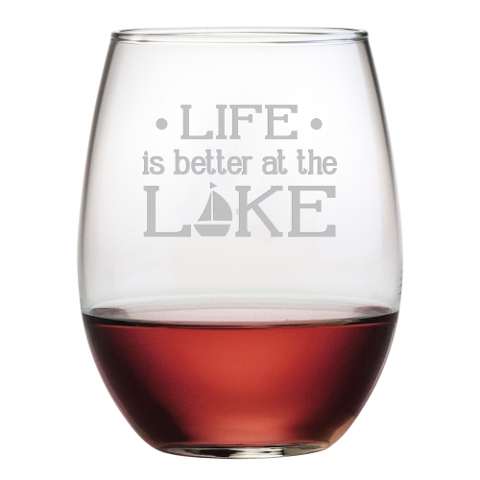 Life Is Better At The Lake Stemless Wine Glasses (set of 4)