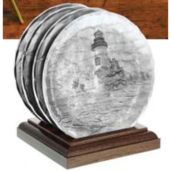 Lighthouse Coaster Caddy Set