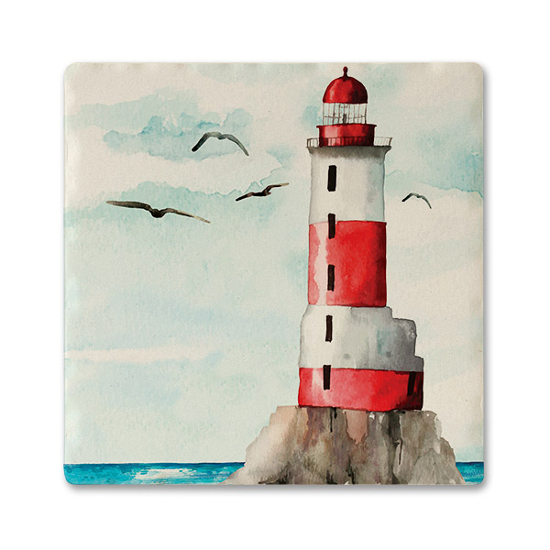 Red Lighthouse Absorbent Ceramic Beverage Coaster