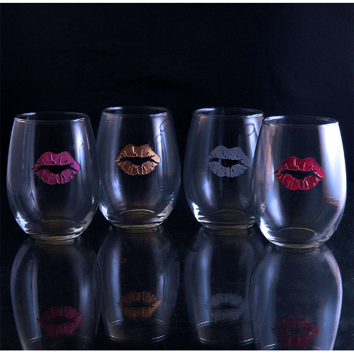 Lip Stain Stemless Wine Glasses (set of 4)